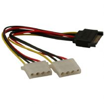 SATA 15 pin Male to Dual Molex 4 pin Female Power Splitter Cable